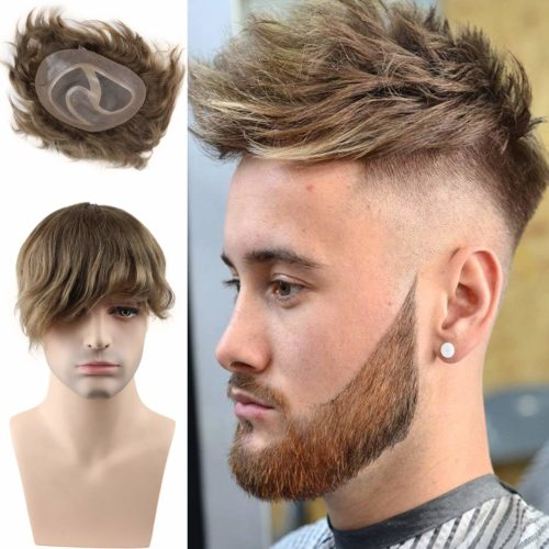 """Rossy&Nancy Toupee for men Hair pieces 100% European virgin human hair replacement system for men 10""""x8"""" human hair toupee men hair piece #18 Light Brown Color"""