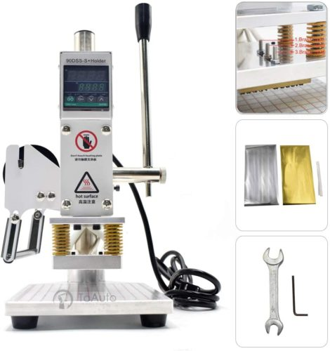 """Upgraded Hot Foil Stamping Machine 5x7cm 110V Digital Embossing Machine Manual Tipper Stamper for PVC Leather PU Paper Logo Embossing 1.97""""x2.76"""""""