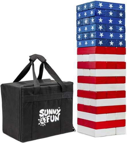 Sunny & Fun Giant Flag Tumbling Tower | 54 Piece Set Oversized Wooden Toppling Blocks | Indoor & Outdoor Stacking Yard Game for Adults & Kids | Great for Party Lawn Backyard | w/ Storage Carry Bag