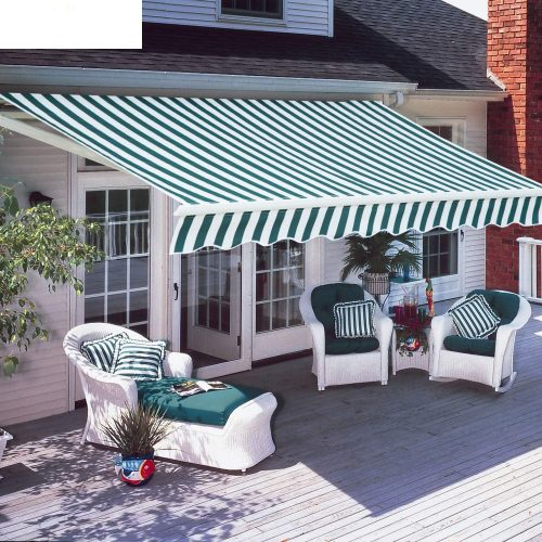 Diensweek Patio Awning Retractable 10'x8', Fully Assembled Manual Commercial Grade - Quality 100% 280G Ployester Window Door Sunshade Shelter - Deck Canopy Balcony P100 Series (Green/White Stripes)