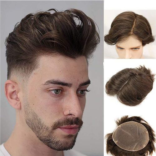 GETD Swiss Full Lace Men's Toupee European Real Human Hair Replacement for Men Hairpiece Soft Human Hair System Toupee 4#