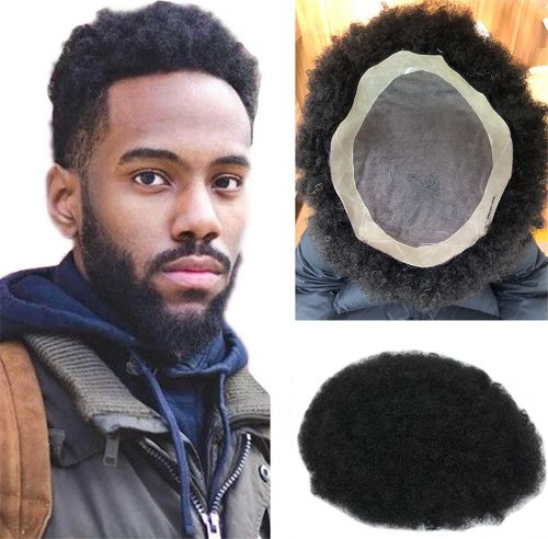 Mens Toupee 10X8 Inch Afro Curly Replacement Lace Front Hairpiece For Men 100% Brazilian Remy Human Hair Color 1B PU-MONO Lace 8x10